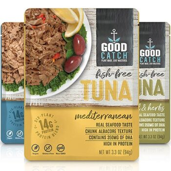 Plant-based tuna packages by GoodCatch