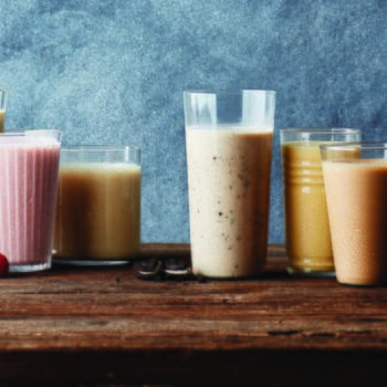 smoothies on wooden table