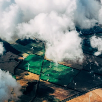agricultural fields wind mills clouds from above